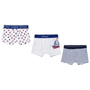 MAYORAL | Mayoral Pack Of 3 Blue Nautical Print Boxer Set 8 Years | Goxip