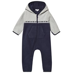 2abab0106d1 Navy and Grey Fleece Hooded Babygrow