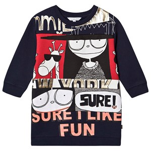 LITTLE MARC JACOBS | Little Marc Jacobs Navy Miss Marc Sure I Like Fun Sweat Dress 3 Years | Goxip