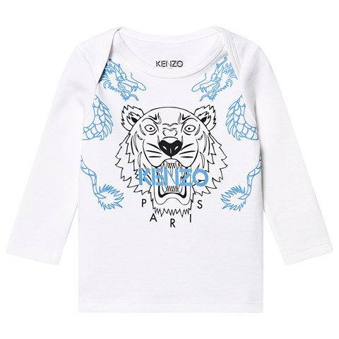1474d8bcd0 White and Blue Dragon Tiger Long Sleeve T-Shirt