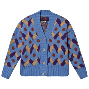 The Animals Observatory Blue Multicoloured Racoon Kids Cardigan 4 Years