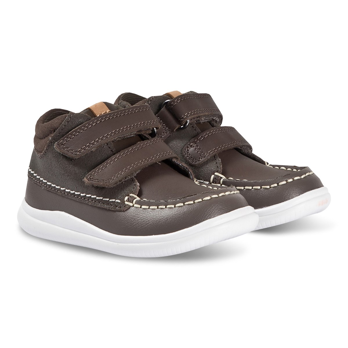Clarks Brown Leather Tuktu Velcro Trainers