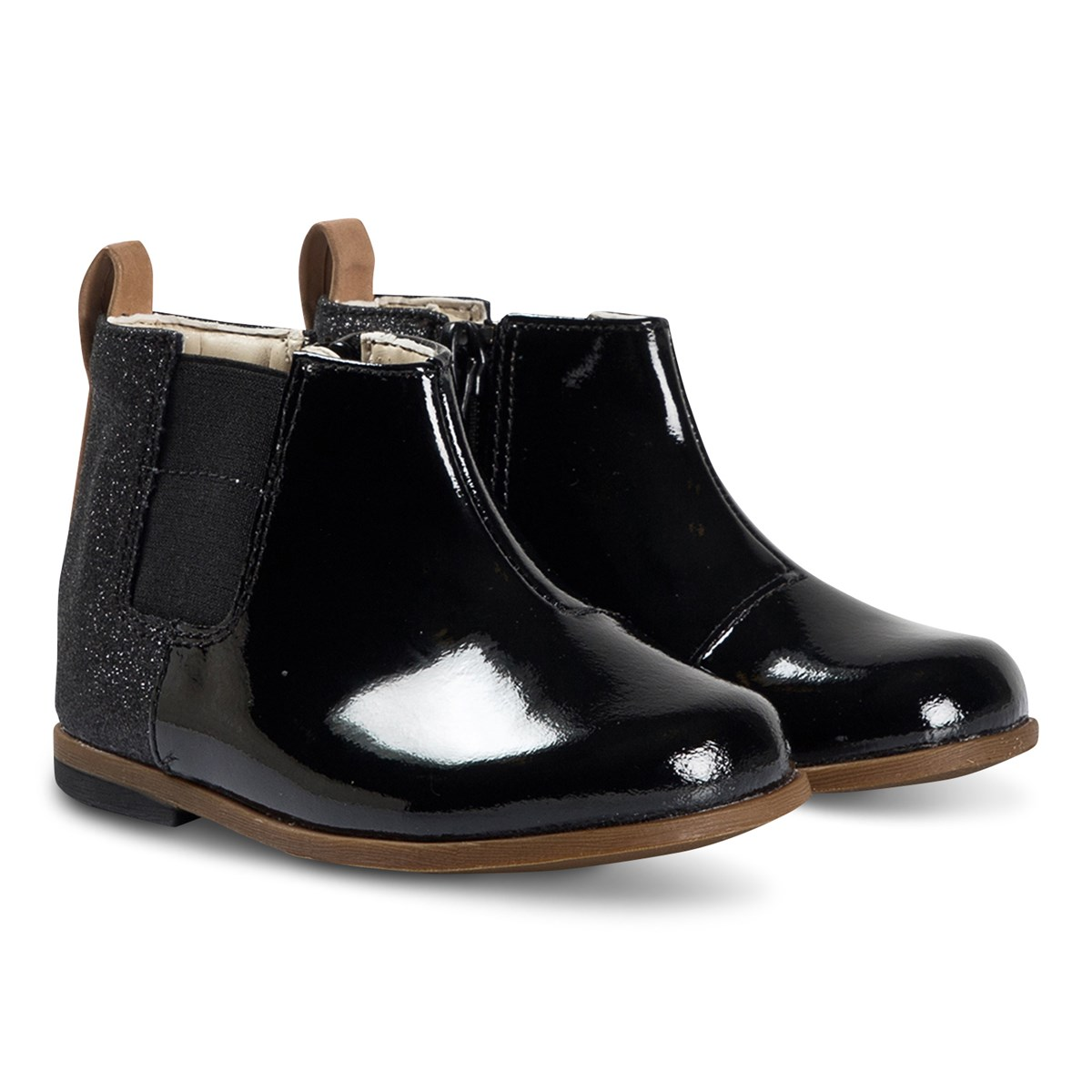 Clarks Black Patent Ankle Boots