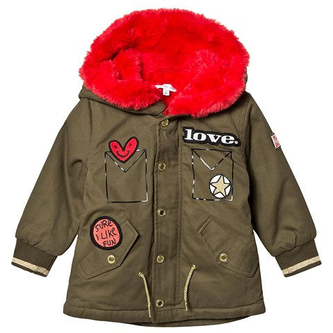 Little Marc Jacobs Khaki Parka with Red Faux Fur Lining