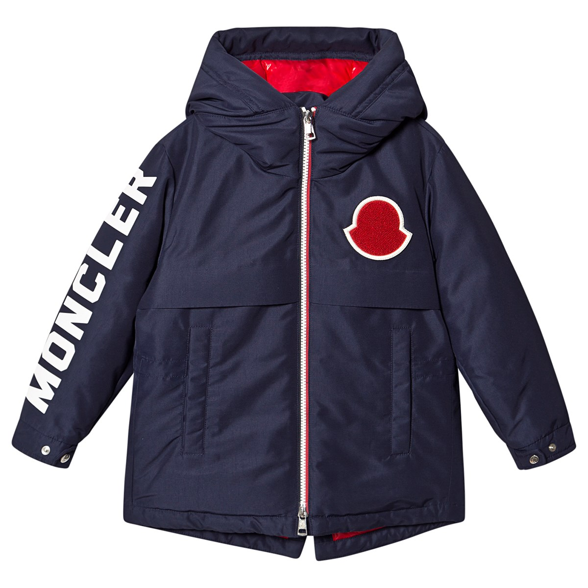 Moncler Navy Airon Branded Sleeve Hooded Down Parka
