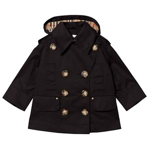 Burberry BLACK COTTON MEREL JACKET WITH DETACHABLE HOOD
