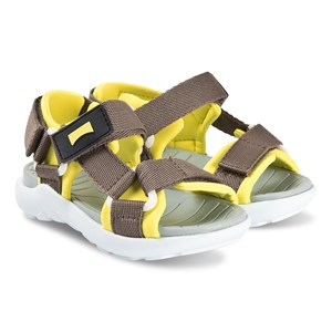Camper Kids'  Brown And Yellow Wous Blanco Velcro Strap Sandals