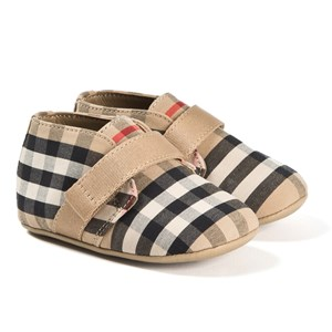 BURBERRY BEIGE CHARLTON CHECK CRIB SHOES