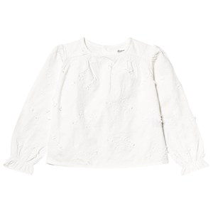 BONPOINT BONPOINT WHITE TWILL FLORAL EMBROIDERED BLOUSE