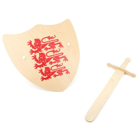 Skipper Wooden Three Lions Shield And Sword Set