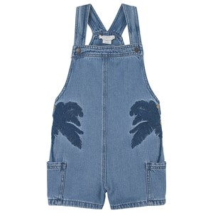 Stella Mccartney BLUE DENIM PALM TREE EMBROIDERED DUNGAREE SHORTS