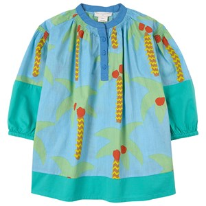 Stella Mccartney BLUE AQUA PALM TREES DRESS