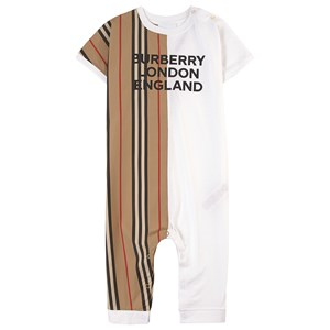 Burberry ARCHIVE BEIGE/WHITE LOGO PRINT ONE-PIECE