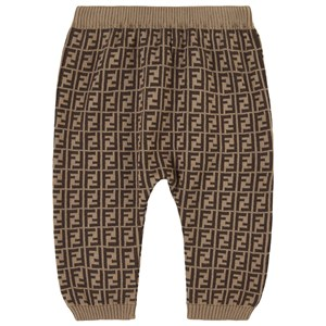 Fendi BROWN FF KNIT TROUSERS