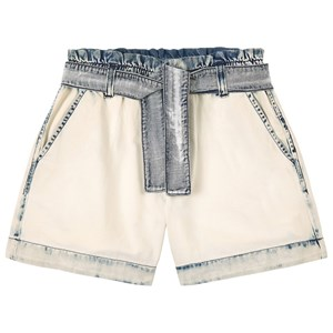 Msgm Denims WHITE DENIM TIE WAIST SHORTS