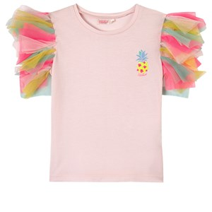 Billieblush PALE PINK PINEAPPLE PRINT FRILL SHOULDER T-SHIRT