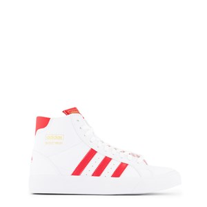 Adidas Originals Activewears WHITE AND RED 3 STRIPES BASKET PROFI HI-TOP TRAINERS