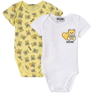 Moschino 2-PACK YELLOW LOGO PRINT BABY BODY SET