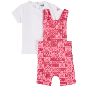 Moschino PINK BRANDED JERSEY OVERALLS SET