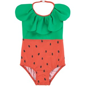 Mini Rodini RED STRAWBERRY HALTERNECK SWIMSUIT