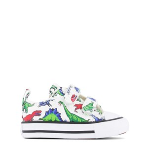 CONVERSE WHITE DINOVERSE CHUCK TAYLOR ALL STAR 2V INFANTS OX TRAINERS