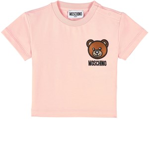 Moschino Cottons PINK EMBROIDERED BEAR LOGO T-SHIRT
