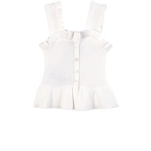 Mayoral Tops WHITE RUFFLE BUTTON DETAIL TANK TEE