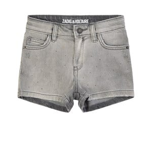 Zadig & Voltaire Shorts GREY 5 POCKET DENIM SHORTS WITH EMBROIDERED LOGO