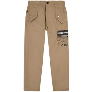 Dsquared2 Cottons DSQUARED2 KHAKI BRANDED TROUSERS