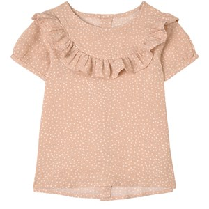 Buddy & Hope Kids'  Dusty Rose Polka Dots Blouse In Pink