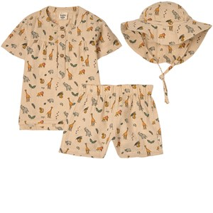 Buddy & Hope Sand Wild Animals Shirt Set In Beige